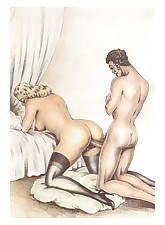 Hardcore retro gangbangs are shown in this vintage porn cartoon.